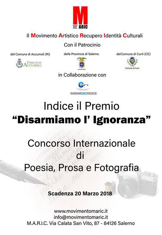 """Premio   """"Disarmiamo l'Ignoranza""""   Concorso Internazionale di Poesia, Prosa e Fotografia    I Edizione"""
